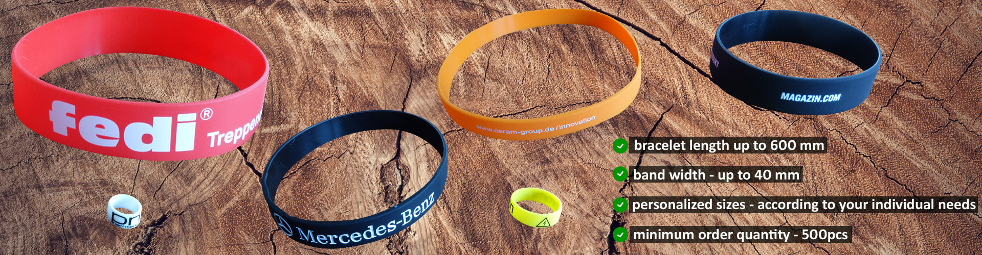 silicone bands personalized sizes