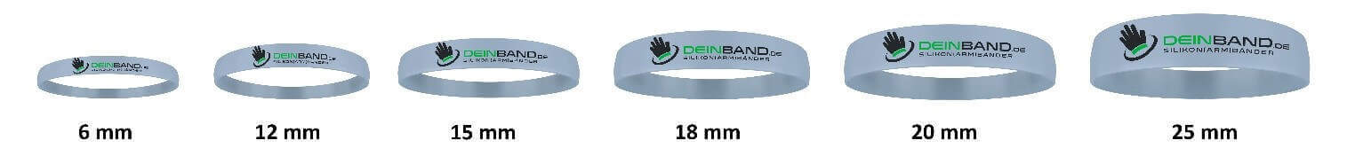 silicone wristbands width chart