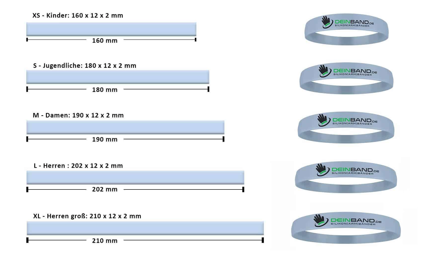 sizes silicone bracelets