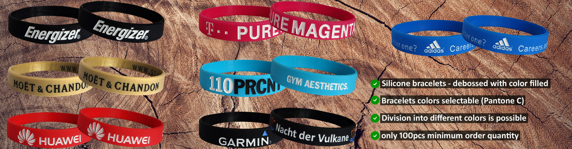 wristbands from silicone debossed color filled